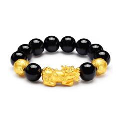 BN13227 Men Women Matte Plated 3D Pixiu Bracelet Jewelry Mens Elastic Bracelet Natural Stone Black Onxy Bead Bracelet