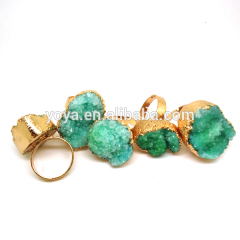 RG1069 Wholesale Gold Plated Green Druzy Ring