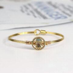 BA1028 Fashion Copper Bangle Jewelry Gold plated Diamond CZ Micro Pave Girl Women Bangles