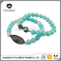 BRZ1358 Handmade cubic zirconia evil eye charm beaded bracelet,natural blue stone bracelet jewelry