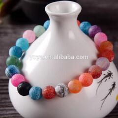 BN5005 Colorful crackle agate beaded bracelet women,lava rock essential oil yoga bead bracelet