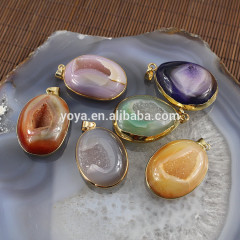 JF6398 Hot sale sparkly natural geode agate druzy pendants,agate druzzy drusy pendants