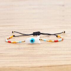 BG1028 Dainty Miyuki Seed Beads Bracelet Good Luck Evil Turkish Eye Adjustable Amulet Charm Bracelet