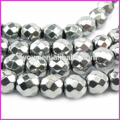 HB3009 Wholesale Silver Faceted Hematite Beads,Loose Round Natural Gemstone For Jewelry Making