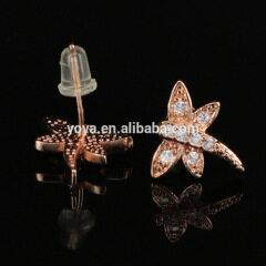 EC1078 Wholesale CZ micro pave dragonfly earring,Cubic zirconia diamond studs earring