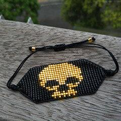 BG1021 Chic Handmade Miyuki Seed Beaded Skull Skeleton Macrame Bracelets