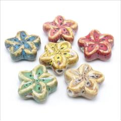 CC1843 Vintage Flower Shape Ceramic Beads, Handmade Pottery, Chinese Porcelain Beads for Jewellery Making