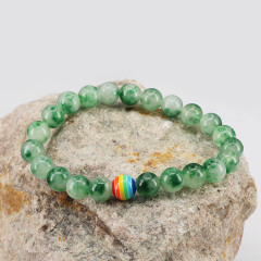8mm green jade gemstone elastic thread bracelet jewelry
