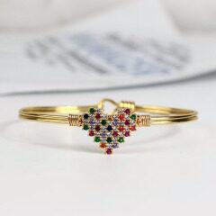 BA1026 Fashion Jewelry Trendy colourful Heart Brass Bangle Gold plated Diamond CZ Micro Pave Copper Bangles