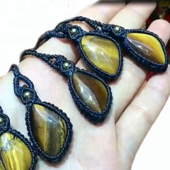 handmade woven waxed cotton natural tiger eye stone pendant necklace for women