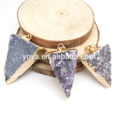 JF6456 Wholesale new style amethyst druzy drusy triangle pendant