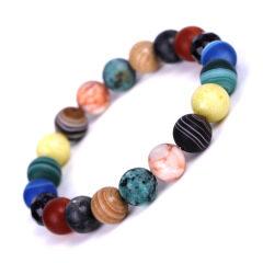 BN5351 Semiprecious Stone Beaded Milky Way Elastic Bracelets