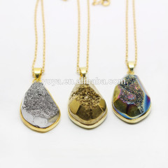 NE0505 Trendy gold plated faceted geode window crystal druzy necklace