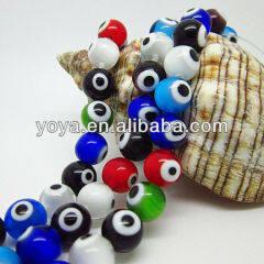 GP0816 Multicolor Lampwork Glass Evil Eye Beads