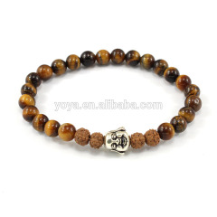 SS1618 Tigereye Beaded Sterling Silver Buddha bracelet, Yoga Jewelry,Rudraksha Seed budddha Bracelet