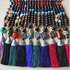 NW1007 Bohemian Handmade Wood Beaded Tassel Mala Necklace with Pave Stone Antique Gold Focal Beads,Spiritiualal Jewelry