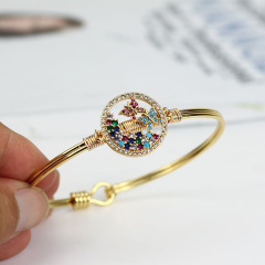 BA1030 Fashion Bangle Gold plated Diamond CZ Micro Pave colourful Butterfly copper Ladies Jewelry
