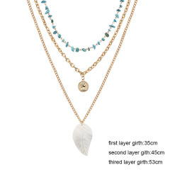 NM1002 Three Layers Coin Charm Necklace,Gold Coin Boho Necklaces,Layering Ethnic Necklace