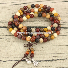 PBB1020 Natural Multicolor Wood Buddhist Prayer Beads Necklace,Meditation 108 Beads