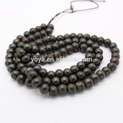 OB001-1 Smooth Dark Brown OX Bone Round Beads