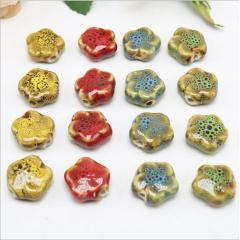 CC1842 Vintage Flower Shape Ceramic Beads, Handmade Pottery, Chinese Plum blossom Porcelain Beads for Jewellery Making