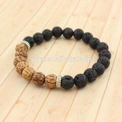 SS1608 wholesale 925 sterling sliver gemstone bead stretch bracelet, olive wood beads bracelet