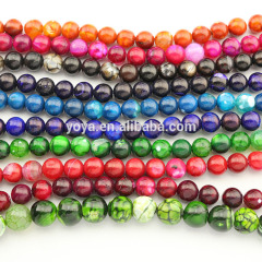 AB0685 New Multicolor Crackle Agate Round Beads