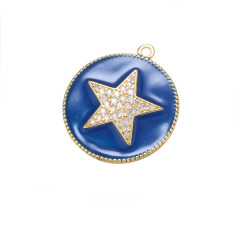 CZ7951 Chic Enamel Blue Red White Black CZ Micro pave Star Disc Pendants