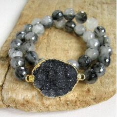 BRH1219 Fashion Jewelry 8mm Faceted Black Rutilated Quartz Stone Beaded Bracelet With Black Druzy