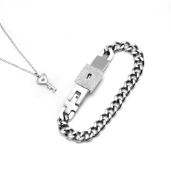 BS2033 Fashion Stainless Steel Link Chain Lock Bracelet Bangle and Key Necklace for Lovers,Couple