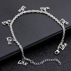 AC1001 Anklets Foot Jewelry Chic Dainty Stainless Steel Love Charm Anklets for Women
