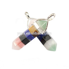 JF2251-65 Fashion crystal 7 chakra point pendant,hexagonal point pendants