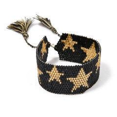 BG1010 Women Boho Miyuki Seed Loom Beaded Star Pattern Cuff Bracelet with Tassel