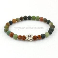 SS1621 Elegant matte Indian agate beads bracelet, 925 sterling sliver buddha head beads bracelet, beautiful women bracelet