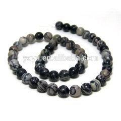 SB6227 Natural black vein jasper beads,silk zebra jasper stone beads,black spider web jasper beads