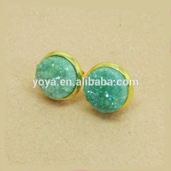EA3165 hot sale aqua green druzy stone stud earring,fashion mint green druzy stud erring