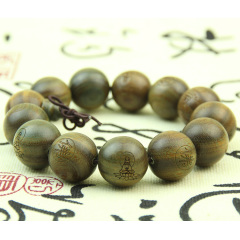 BW1059 Wood Bracelet Tibetan Buddhist Carved Words Green Sandalwood Beads Prayer Wrist Bracelet Mala