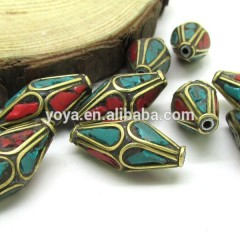 NB1205 Fashion bicone nepal nepalese beads with turquoise and coral inlay