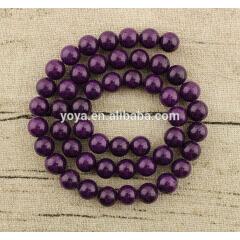 Fashion MJ1011 Purple smooth natural gemstone Mashan jade beads jewelry for strand