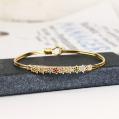 BA1022 Popular Womens Fashion Bling Gold plated Diamond CZ Micro Pave Star Copper Bangles Jewelry