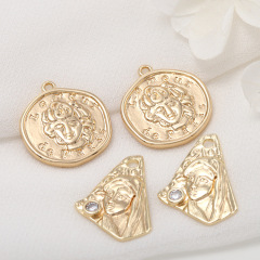 JS1504 High Quality Chic 14k Gold Plated Irregular Medallion Charm Necklace Pendants