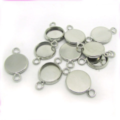 JF8295 Silver Round Bezel Setting Gemstone Connector,Jewelry Findings Connector