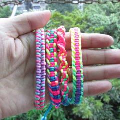 FL0890 Neon Rainbow Macrame Friendship Bracelet