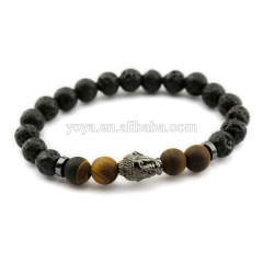 BN1033 fashion gemstone stainless steel buddha wrist bracelet black buddha mens bracelet