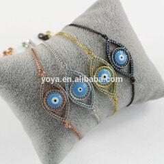 BRZ1362 New arrival evil eye charm bracelet,Cubic zirconia thin bracelet women jewelry