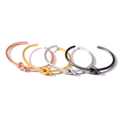 BS2032 Simple Gold plated Stainless Steel Knotted Hoop Cuff Bangle Jewelry bracelet with knot for women