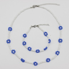 S11054 Chic Dainty Thin Mini Seed Beaded Flower Pattern Bracelet and Necklace Jewelry Set for Women Girls