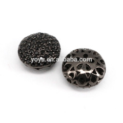 CZ7354 Wholesale CZ micro pave flat oval spacer beads,Cubic zirconia diamond findings