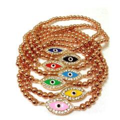 BRE1005 Fashion Metam Beaded Rhinestone Eye Bracelet