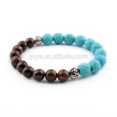 SS1614 wholesale bronzite & turquoise gemstone elastic bracelet,925 sterling sliver bracelet